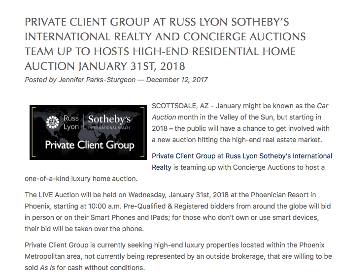 Private Client Group & Concierge Auctions HOST Rare Luxury Home AUCTION JANUARY 31, 2018
