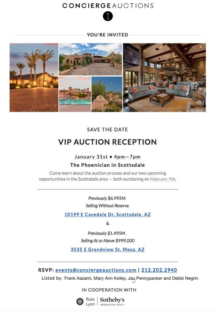 VIP AUCTION RECEPTION | January 31st 4-7pm | The Phoenician in Scottsdale